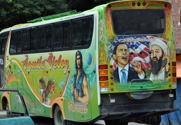 Bus painted with folk heroes S