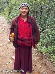 Monk who had found the Amanita hemipapha  I had hidden for picking up on the return hike in Phajoding