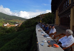 Breakfast at Wangdue Eco-Lodge. What a location!