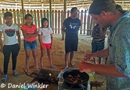 Mushroom tasting with Tepu kids and Daniel cooking ChanterellesDW Ms
