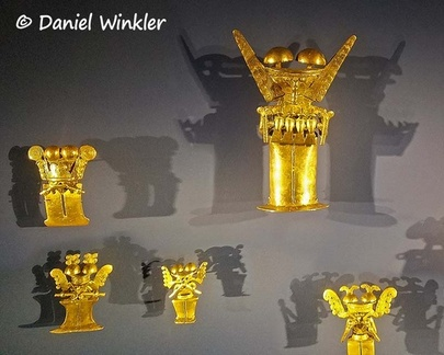 Gold figurines with mushrooms in the Museo del Oro, Bogota!