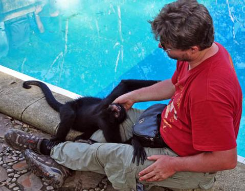 Daniel Winkler with Spider Monkey